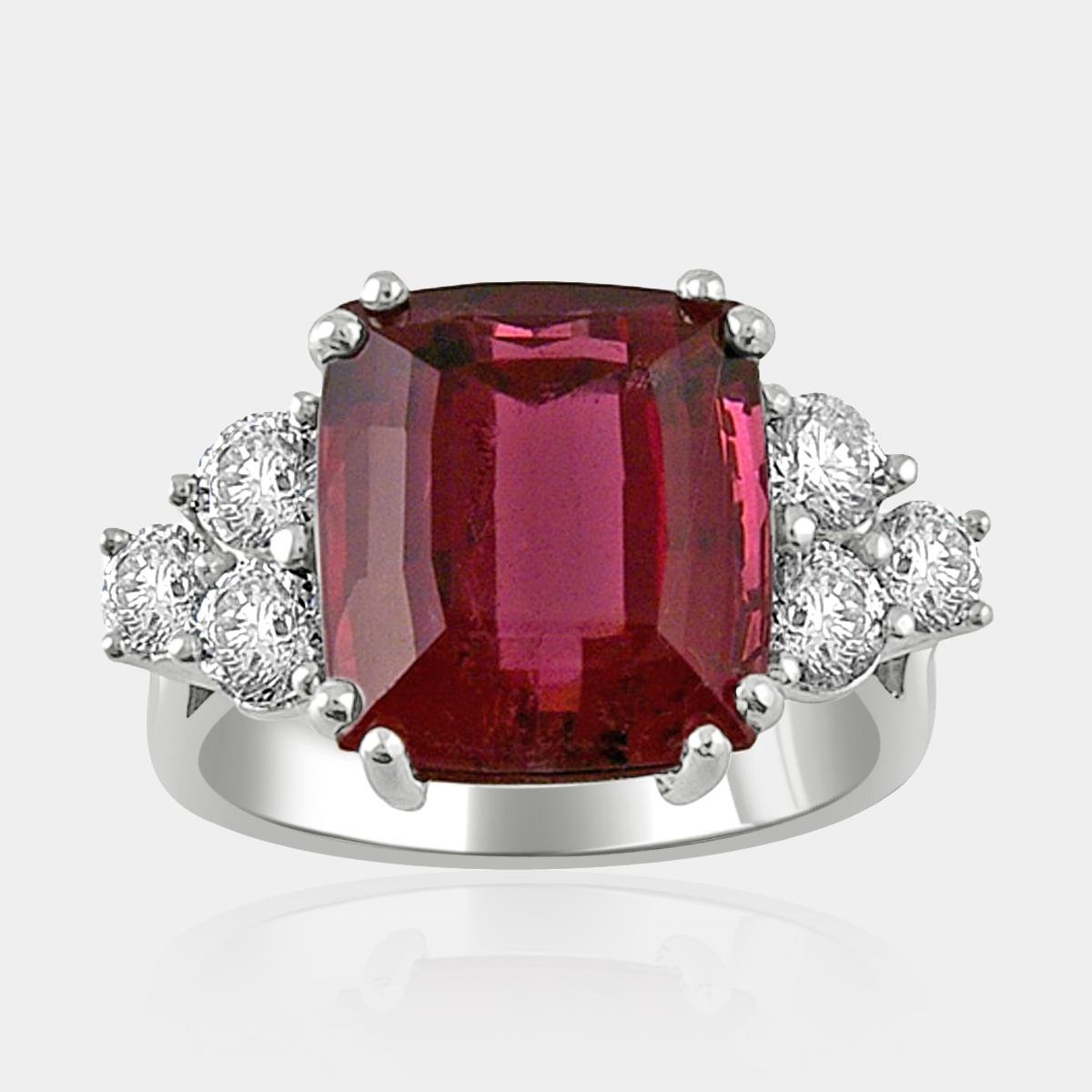 Dark Pink Cushion Cut Tourmaline Ring with Round Diamond Clusters