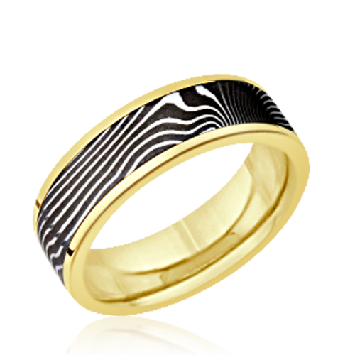 Damascus men's wedding ring - flat twist acid