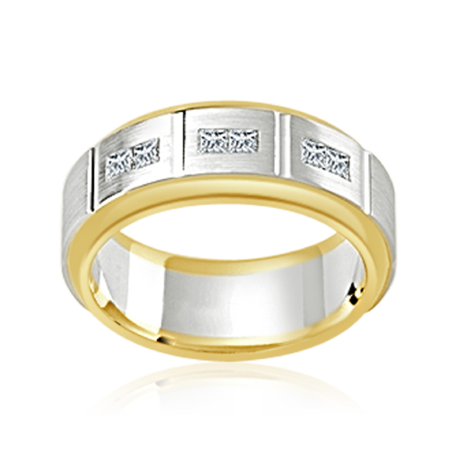 Gold and Silver diamond set Men's ring