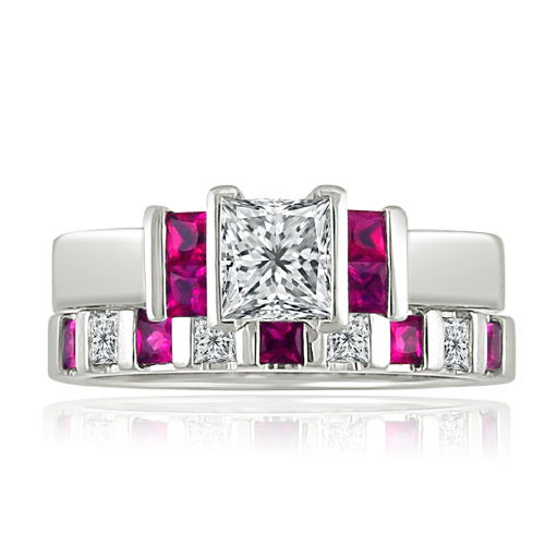 Princess cut diamond wedding ring with ruby