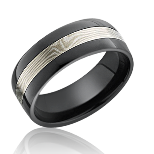 Zirconium men's wedding ring